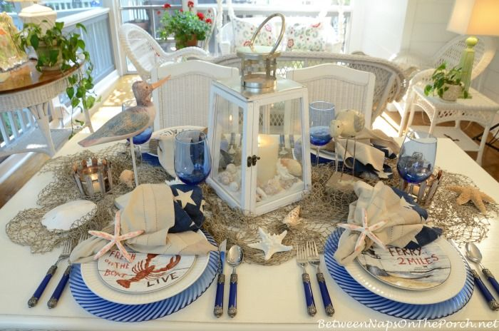 Nautical Table Setting Tablescape With David Carter Brown Driftwood Dishware!!! Love the relaxing blues!!!
