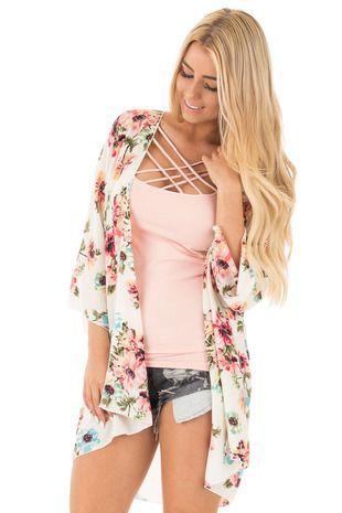 7c69be986 Ivory and Blush Floral Print Kimono front close up. #fashion #style  #womensfashion