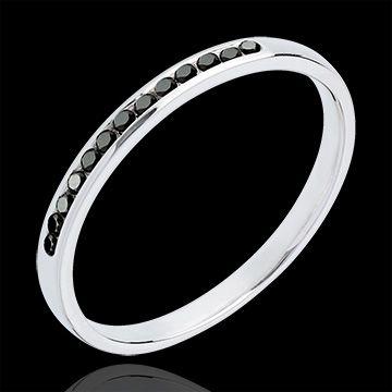 Alliance or blanc semi pavée diamants noirs : bijoux Edenly 290E 18 CARAT