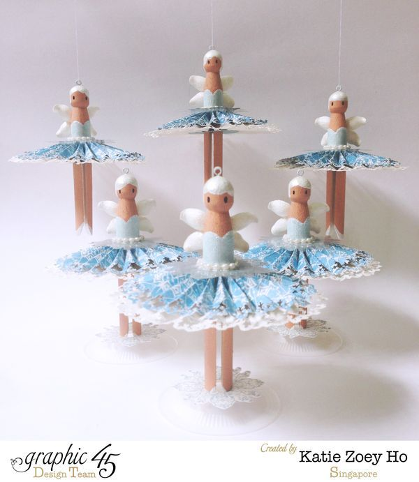 Learn how to make these adorable ballerina ornaments with a great tutorial from Katie! Love these #Graphic45 #g45handmadegifttutorials