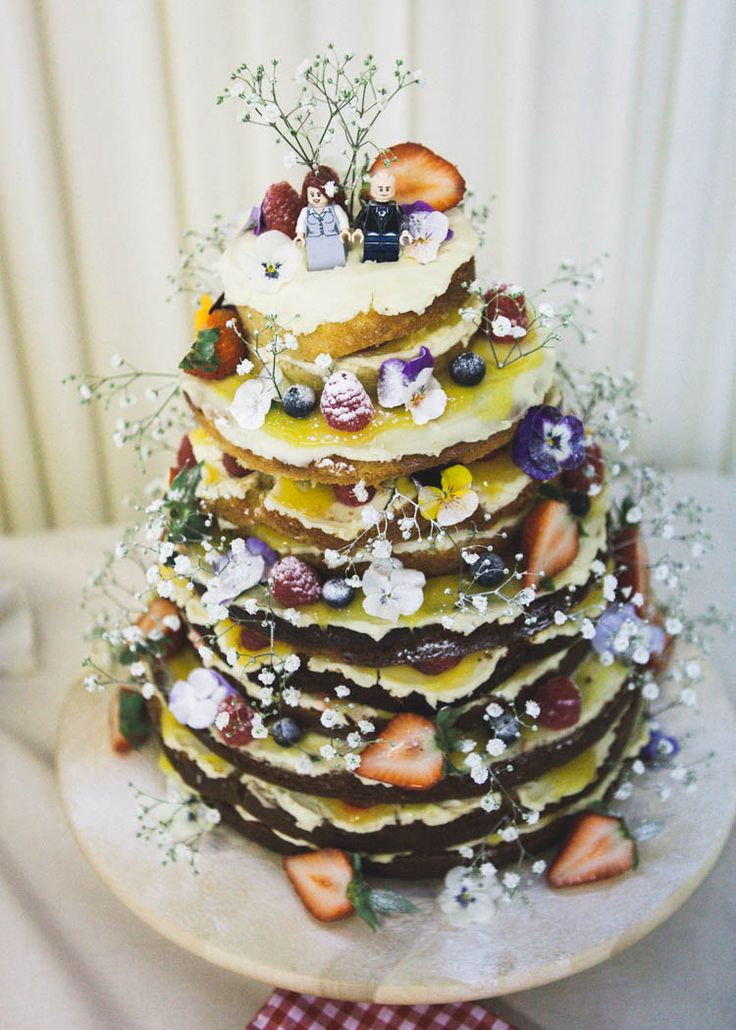 Naked Layer Victoria Sponge Cake Flowers Icing Strawberries Lego Toppers Eclectic Cranberry Red Silver Grey Antique White Barn Wedding http://www.faithdwightphotography.com/