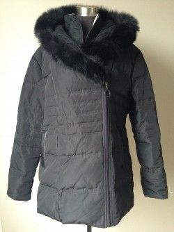 Bianca Nygard Down Parka, Large $99  Assymetrical zip closure with inside zip closure placket.  Sweater lined hood with fox fur trim. Leatherette welted pockets.  Shell is  polyester and fill is 70% down/30% waterfowl.  New without tags Original Retail:  $420  The same coat (with the exception of a different material lining on the hood) is currently on sale at a major Canadian department store's website for $252 plus tax Our Price $99