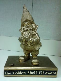 I'm All Booked: Library Lesson: The Library's Shelf Elf- cute Golden Shelf Elf Award to go with Jackie Mims Hopkins' book The Shelf Elf!