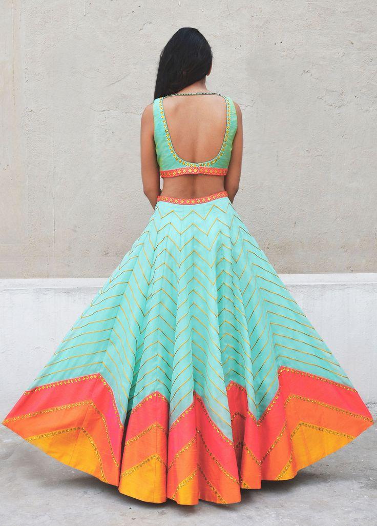 Mint lehenga with pink zig zag lines - back - Priyal Prakash Summer 2016 collection