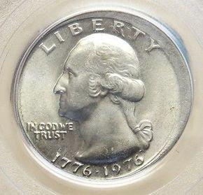 1976 US WASHINGTON QUARTER BROADSTRIKE COLLAR MINT ERROR COIN PCGS MINT STATE 64