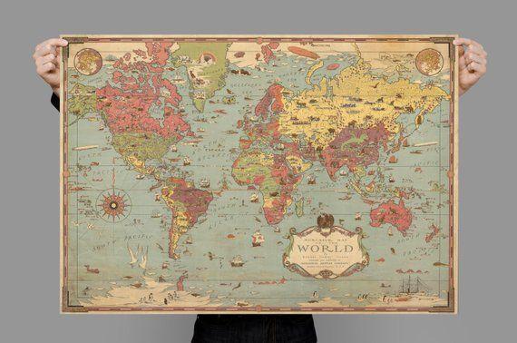Mercator World Map World Map Poster World Map Old Map Art