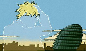 Illustration of Boris Johnson as silhouette with hair by Robert G Fresson