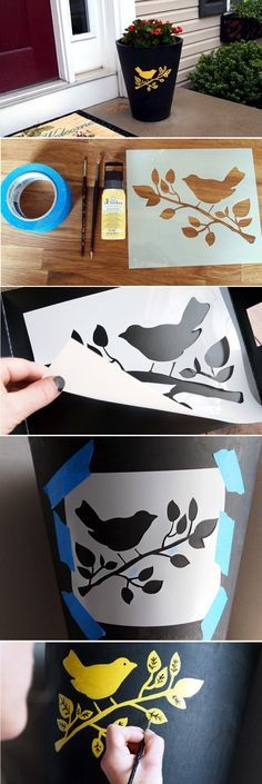 Stencil An Outdoor Planter. Good idea to use glow in the dark paint to put the house number on a pot.