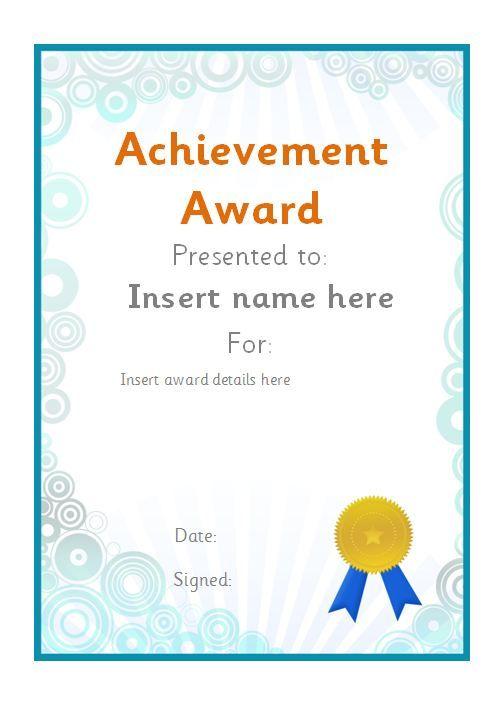 Editable achievement award certificate. #teachingresources