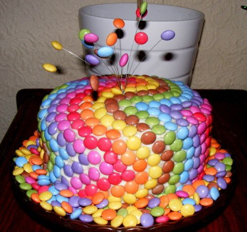 Smartie cake.  Totally making this for my son's 2nd Birthday. (For my American friends...Smarties are kind of like chocolate M&M;'s, only better) - Erin or Jen