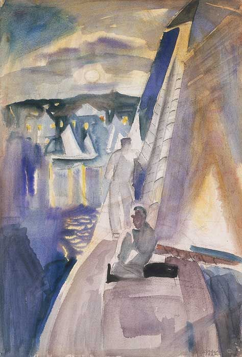 """William Zorach (1887-1966) was a Lithuanian-born American sculptor, painter, printmaker, and writer.  ~   """"Sailing by Moonlight ~1922"""