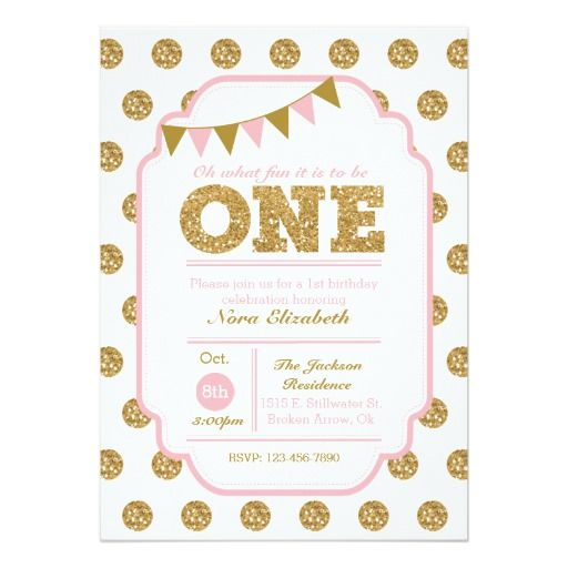 Best St Birthday Party Invitations Images On Pinterest St - 1st birthday invitations gold and pink