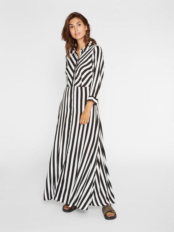 Damen Vintage Maxikleid Hemdkleid Langkleid Sommerkleid Gestreift Freizeitkleid