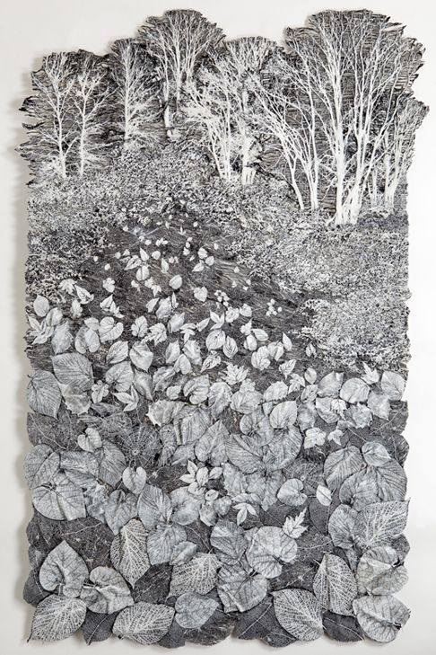 Lesley Richmond: Skyline Moonlight / Cotton/silk fabric, kozo, heat reactive base, metallic paint