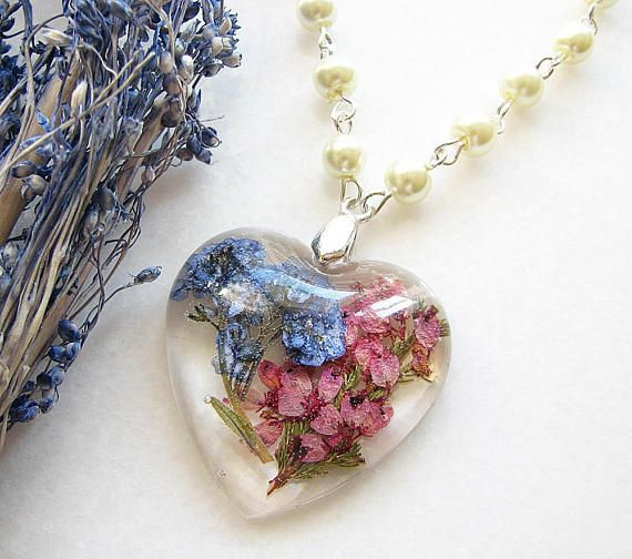 Real flower necklace for women Pressed flower resin necklace Nature jewelry gift Real flower jewelry heather long necklace Nature necklace