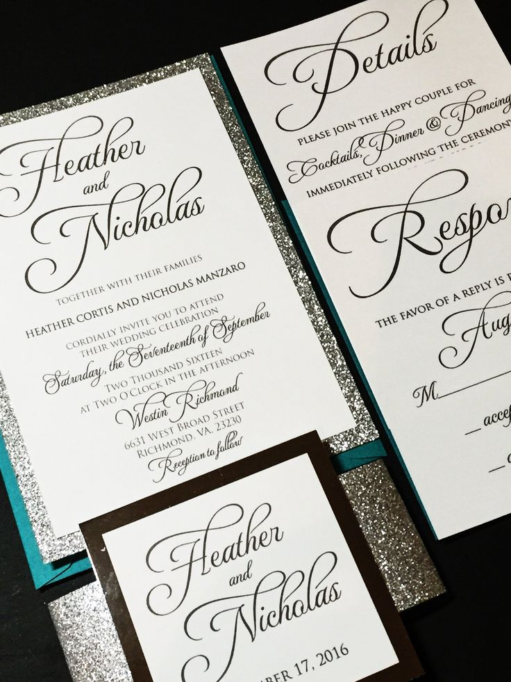 Teal and Silver Glitter Wedding Invitation Calligraphy
