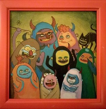 Kids room art. Cartoon drawing. Crazy demon HugeHug family.