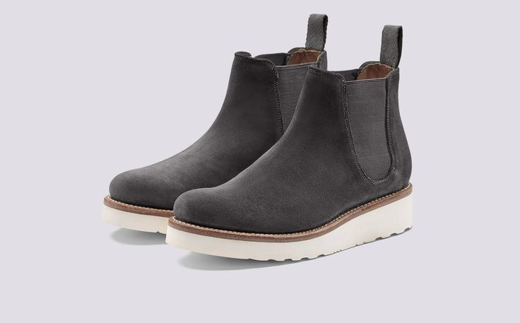 Lydia | Womens Chelsea Boot in Lavagne Suede with a White Wedge Sole | Grenson Shoes - Three Quarter View