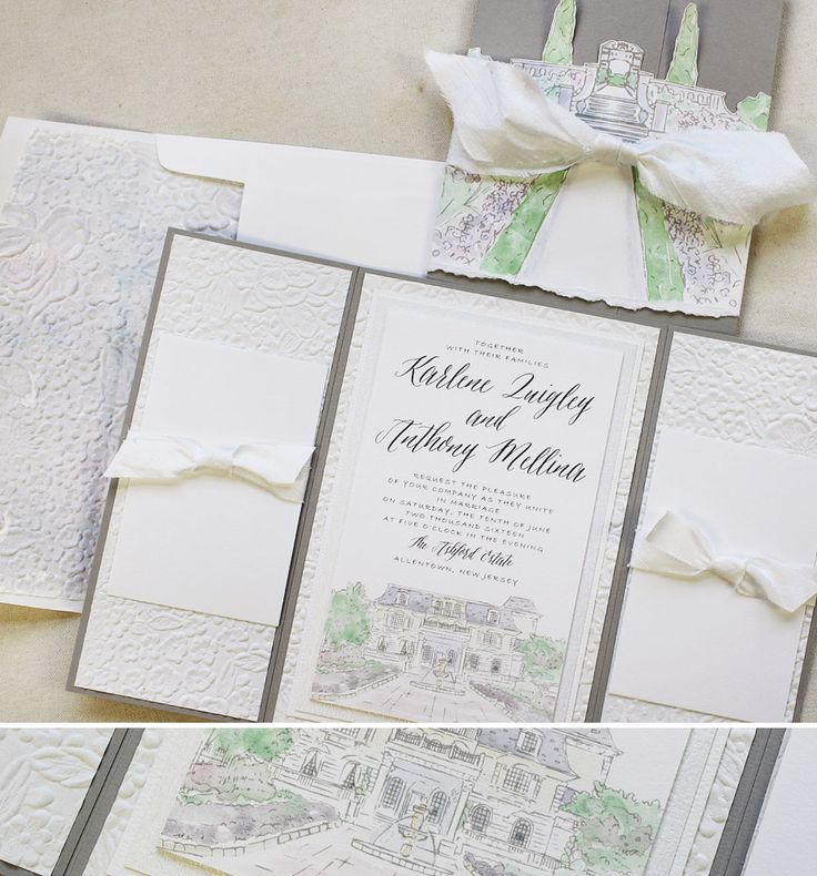 wedding invitations that look like theatre tickets%0A like the watercolor house image idea  not totally in love with this exact  image