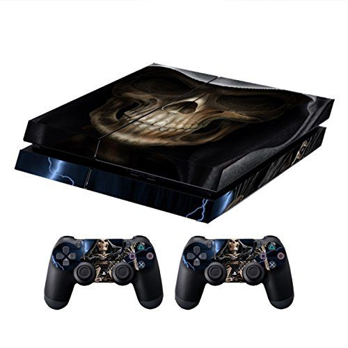 Skins for PS4 Controller - Decals for Playstation 4 Games - Stickers Cover for PS4 Console Sony Playstation Four Accessories PS4 Faceplate with Dualshock 4 Two Controllers Skin - Grim Reaper