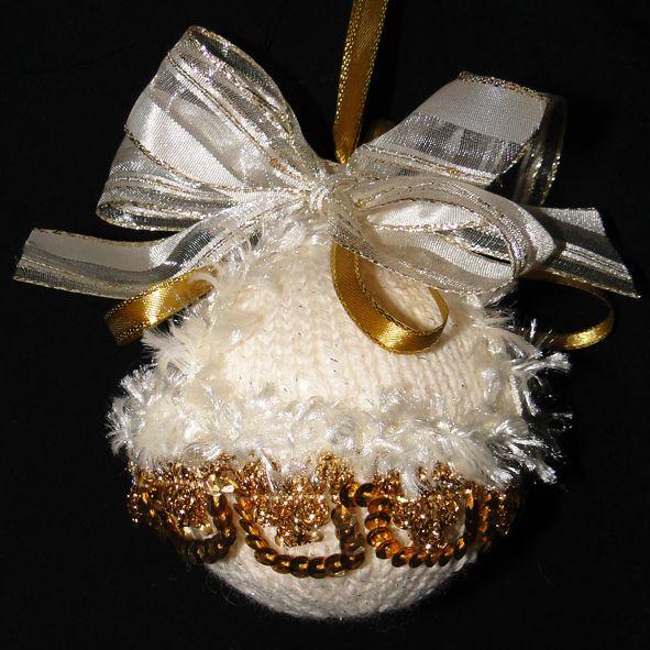 Cream Fur & Gold Lace Handmade Christmas Tree Bauble