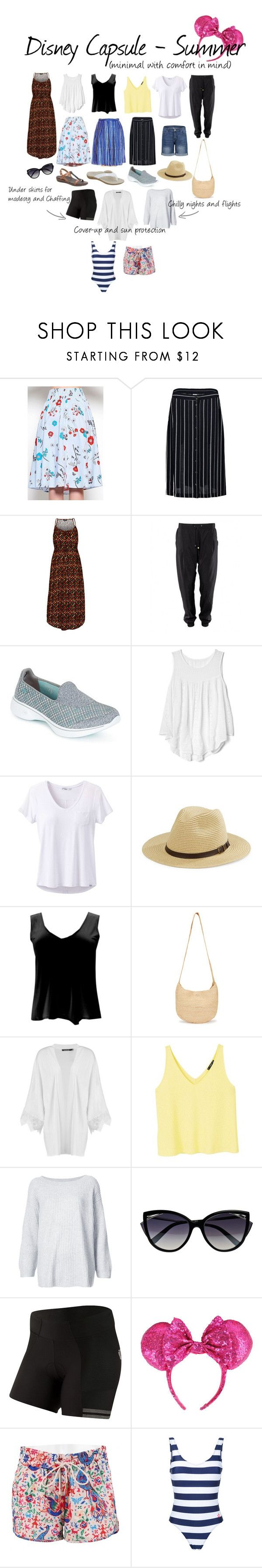 Capsule wardrobe for a trip to Disneyland or Disney World in summer. Minimal amount with comfort in mind. Sandals with arch support, memory foam sneakers. Sun protection. No short skirts /shorts. Bike shorts for under skirts/ dresses to avoid fly up on rides and to avoid chaffing.