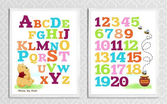 Winnie l'ourson Alphabet et chiffres  pépinière par LoveDecorStudio