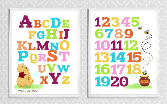 Winnie the Pooh Alphabet and Numbers  Printable by LoveDecorStudio, $7.99