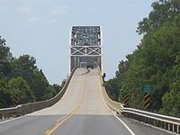 This bridge atop the Red River links Bossier and Caddo parishes just east of Hosston.