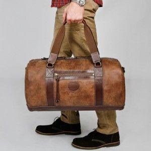 men's duffle leather travel bag