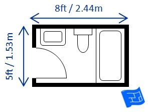 Full bathroom dimensions with a bath (or large shower) 8ft x 5ft.