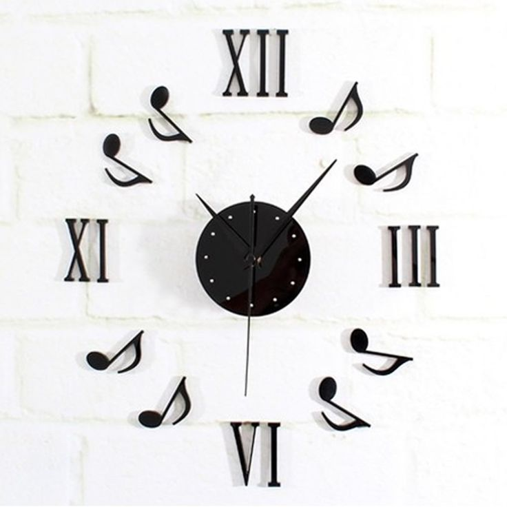 New DIY Black Music Notes Clock Mirror Surface Wall ...