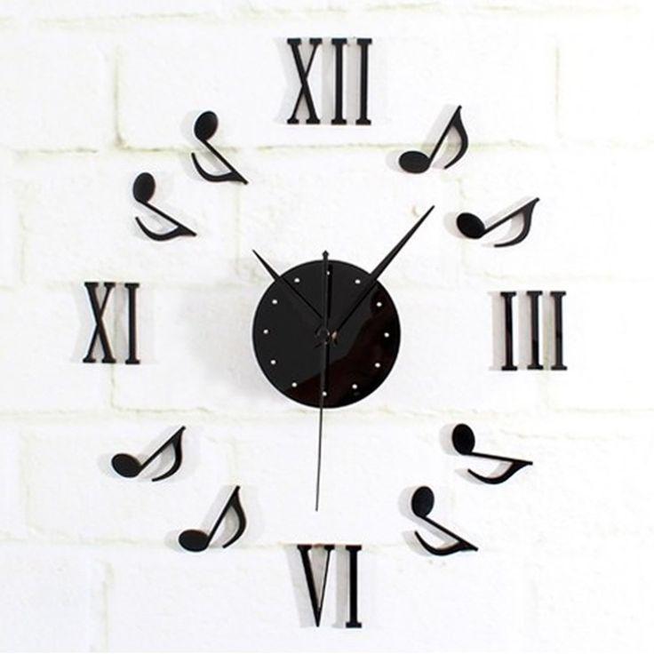 New DIY Black Music Notes Clock Mirror Surface Wall Sticker Home Office Decor Alternative Measures