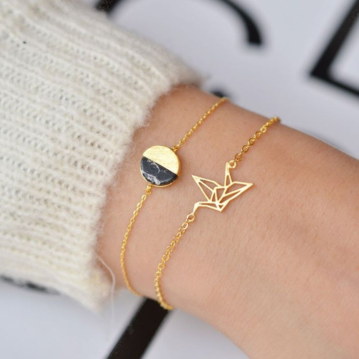 Envol Oiseau Origami Gold Bracelet - Majolie- Tap the link now to see our super collection of accessories made just for you!