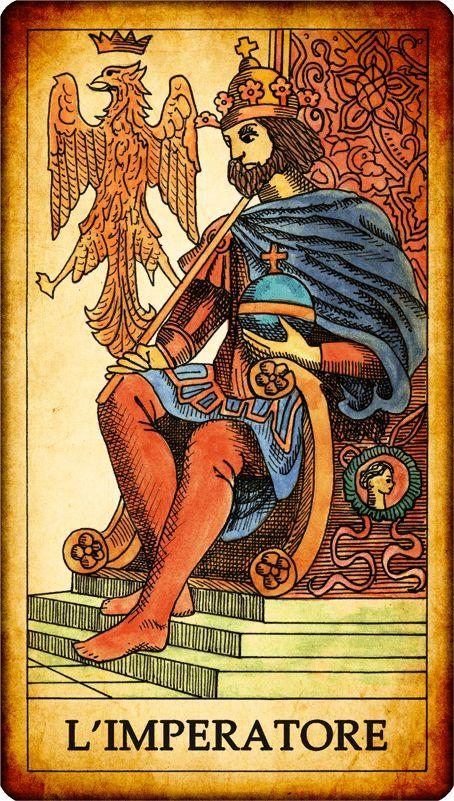 """Carta dei Tarocchi """"IV._L'IMPERATORE""""  L'imperatore è un sovrano barbuto – seduto su un trono – che trasmette fermezza e potere. Tutti i simboli del potere sono presenti nella carta: l'abbigliamento del sovrano, il lungo scettro, lo scudo con l'aquila imperiale. Per dare ancor più enfasi al concetto di potere, l'imperatore è spesso rappresentato con le gambe incrociate, segno che non ha superiori per cui deve essere pronto ad alzarsi e inchinarsi. SIGNIFICATO nei Tarocchi:... MORE:--> htt"""