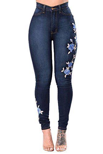 44c4a3a50 WanYang Mujeres Bordado Pantalones Jeans Pies Vaqueros Mujer ...