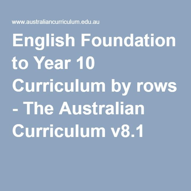 English Foundation to Year 10 Curriculum by rows - The Australian Curriculum v8.1