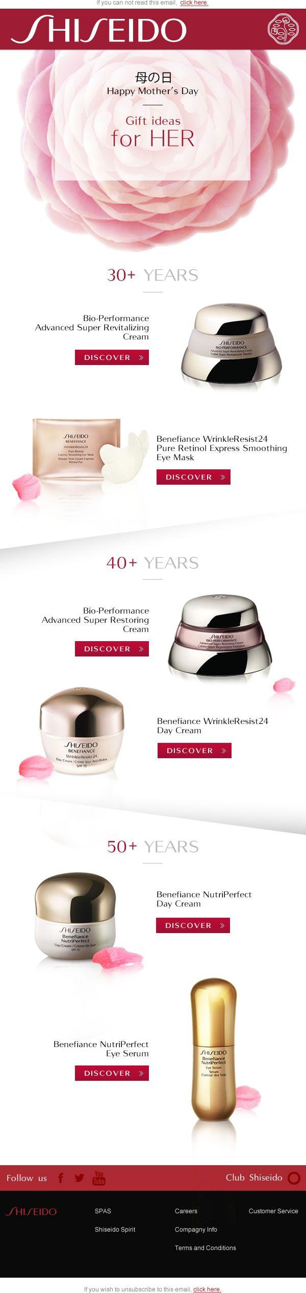 """Création d'un email """"Fête des Mères"""" pour la marque de Luxe Japonaise Shiseido."""