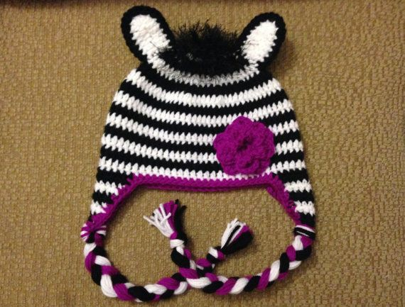 Crochet Baby Zebra Hat Pattern : Crochet Zebra Hat - Custom made in any size