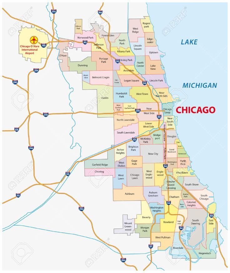 Stock Vector Chicago neighborhoods map, Chicago, Chicago