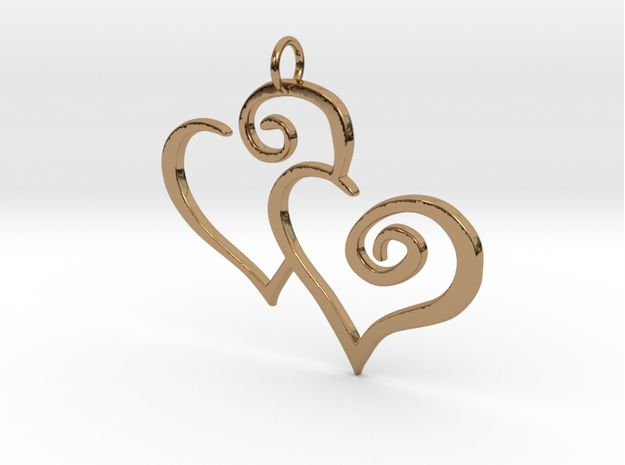 2-Heart #Charm #Pendant 3d printed polished brass