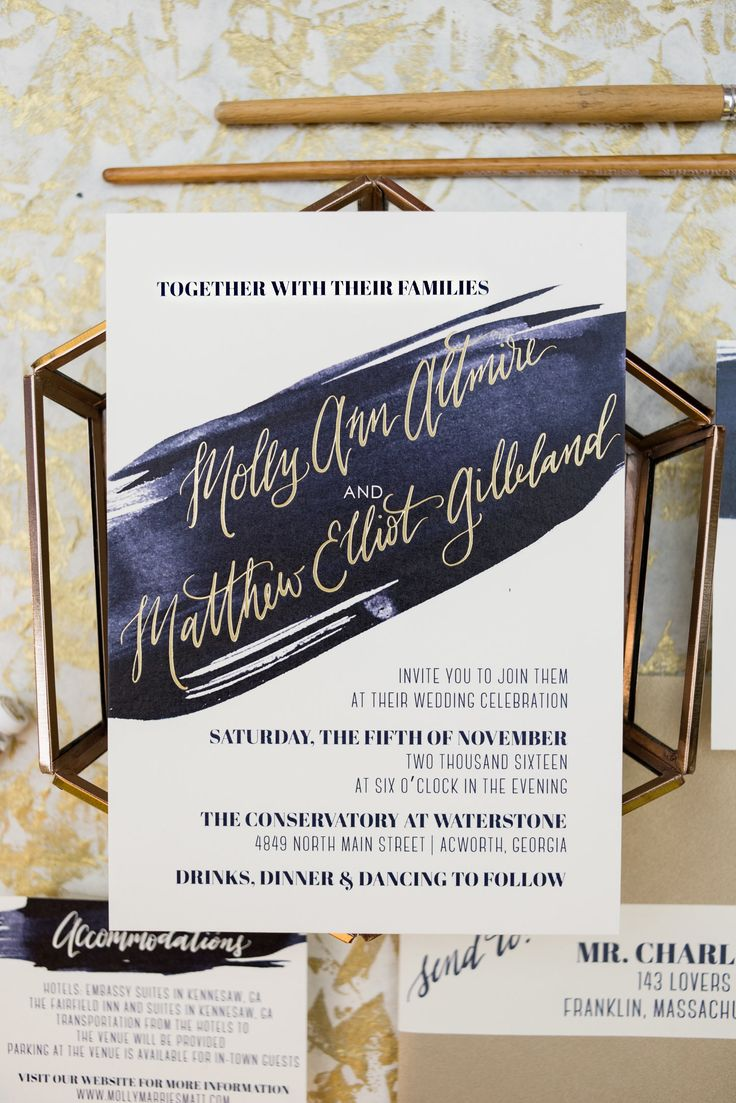 golden wedding card making ideas%0A navy brush stroke and gold foil wedding invitation  modern wedding design   Wouldn u    t