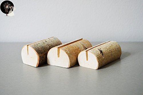 Set of 10 birch place card holders, name card holders, rustic wood card holder, shabby chic, birch card holder, 10 card holders, scandinavian card holders, birch tree with bark natural card holders - Wedding table decor (*Amazon Partner-Link)