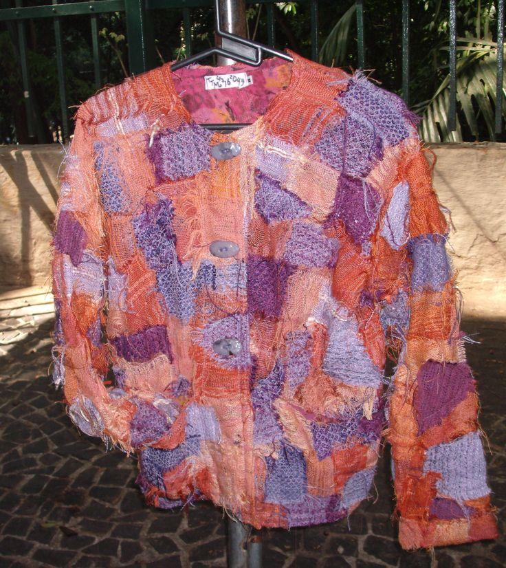 casaco primavera verão, pat-work selvagem (retalhes de tecido feito no Tear Manual)