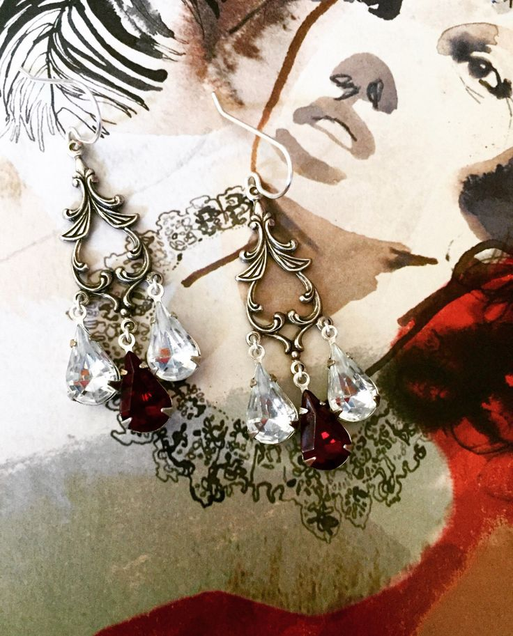 """Vintage Gothic """"Blood and Ice"""" Crystal Earrings, Swarovski, chandelier, blood red, silver plated, art nouveau, fancy, elegant, rhinestone by RoseAndRook on Etsy https://www.etsy.com/ca/listing/466936030/vintage-gothic-blood-and-ice-crystal"""