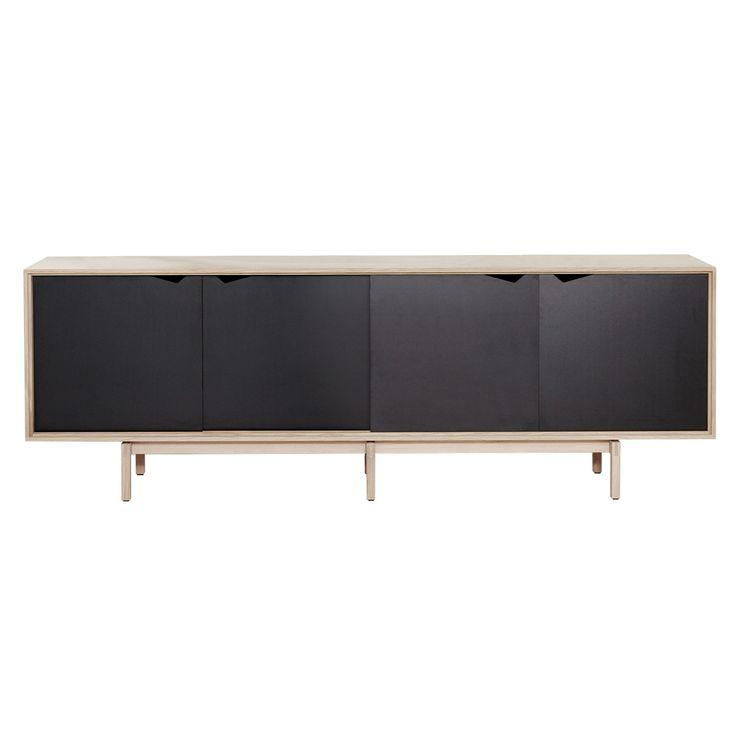 Andersen Furniture - S1 Sideboard, Eiche geseift/ Türen schwarz Schwarz T:50 H:68 B:200