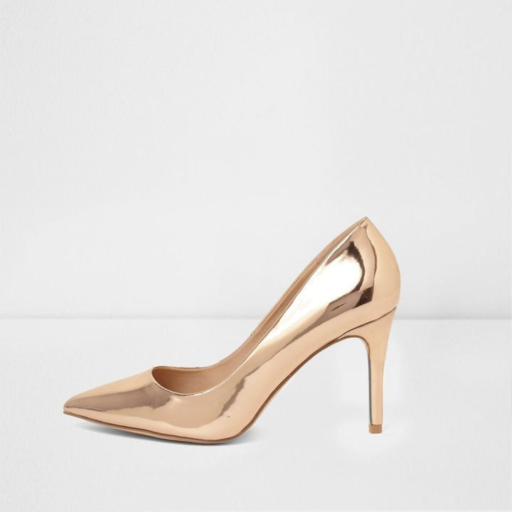 One word: wow!! ***click on the image for pricing***River Island Womens Rose Gold metallic mid heel court shoes, statement, smart, evening, stilettos, note affiliate link #Women'sWOWShoes