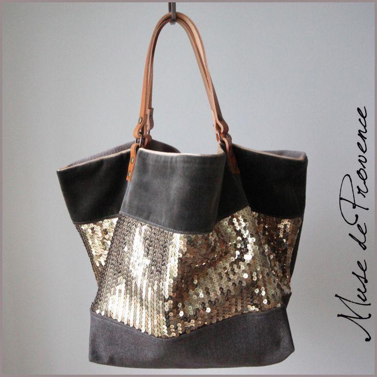 sac cabas créateur aux paillettes et cuir Soirée 1