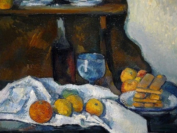 """CEZANNE,1877-79 - Le Buffet - Still Life, The Buffet (Budapest) - Detail -b  -  TAGS : details détail détails detalles painting paintings peinturepaintings """"Paul Cézanne"""" """"Paul Cezanne"""" Cezanne Cézanne """"Still life"""" """"Nature morte"""" Budapest Hongrie Hungary """"Nature morte"""" citrons citron lemon lemons orange oranges nappe """"nappe blanche"""" """"white cloth"""" chiffon cloth bleu blue tasse cup sucrier """"sugar bowl"""" buffet knife fruit food pomme apple apples glass verre dessert biscuits"""
