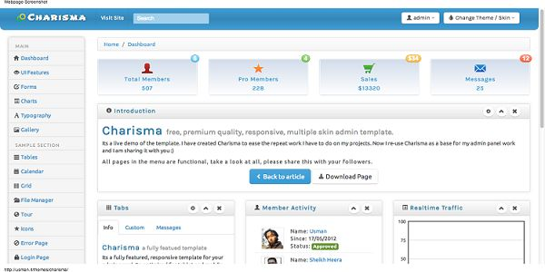 Charisma is a full included, free, premium quality, responsive, HTML5 administrator layout (or backend format) in view of Bootstrap 3 from Twitter, it accompanies 9 unique subjects to suit your style and application sort.